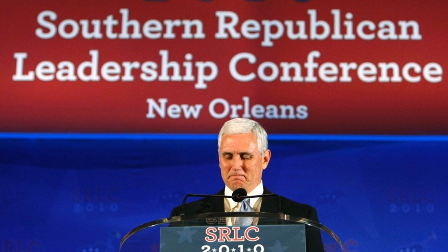 Rep. Mike Pence, R-Ind., speaks at the Southern Republican Leadership Conference in New Orleans, Saturday, April 10, 2010. (AP)