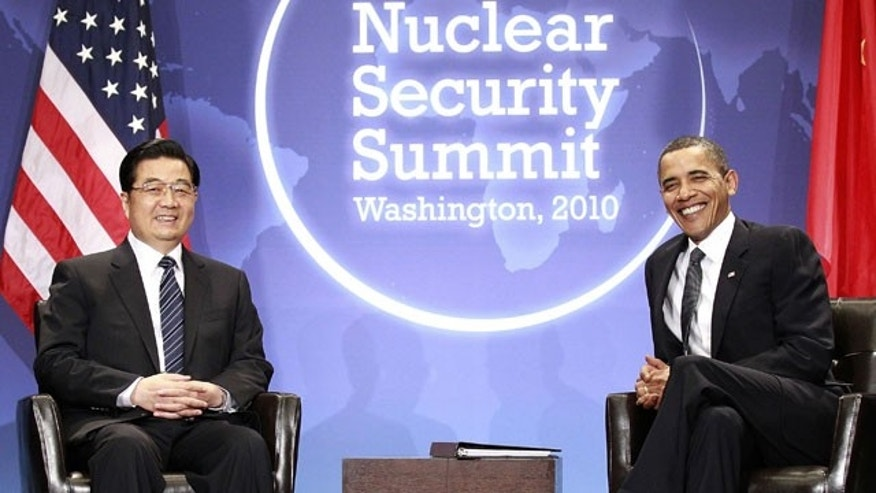 April 12: President Barack Obama meets with Chinese President Hu Jintao during the Nuclear Security Summit in Washington.