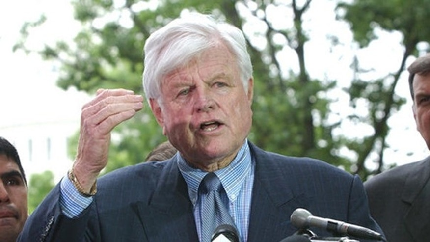 In this June 2007 file photo, Sen. Ted Kennedy discusses immigration legislation at a news conference on Capitol Hill. (AP Photo)