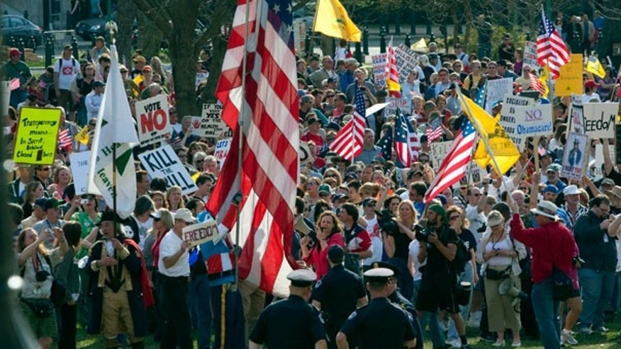 March 20: Tea party demonstrators protest outside of the House Chamber on Capitol Hill in Washington.