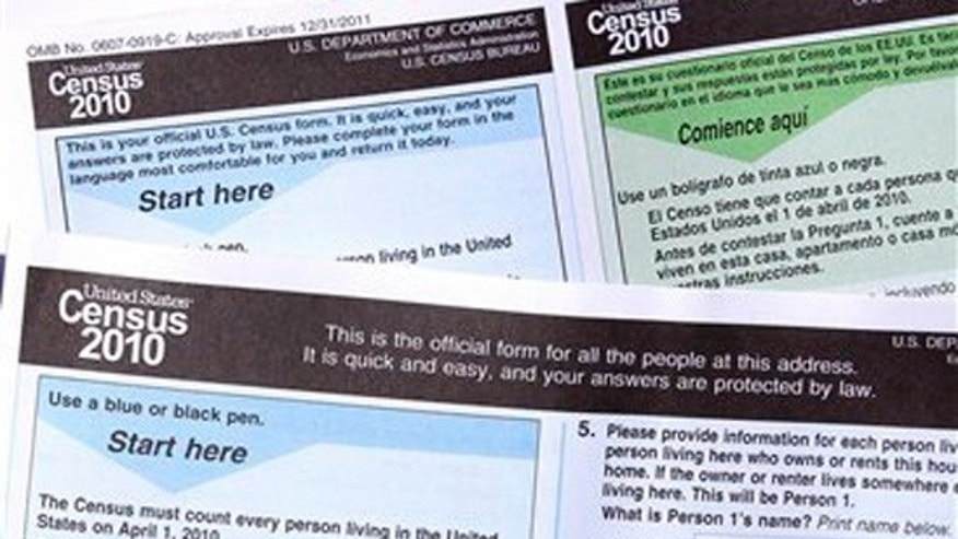 Copies of the 2010 Census forms are seen during a news conference Monday, March 15, 2010, in Phoenix to kickoff a national drive as Census forms are mailed to everyone. (AP)
