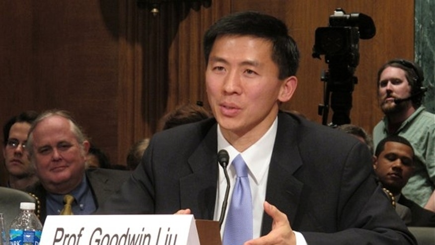 Goodwin Liu, President Obama's nominee for the 9th Circuit Court of Appeals, testifies before the Senate Judiciary Committee, April 16, 2010. (FNC)