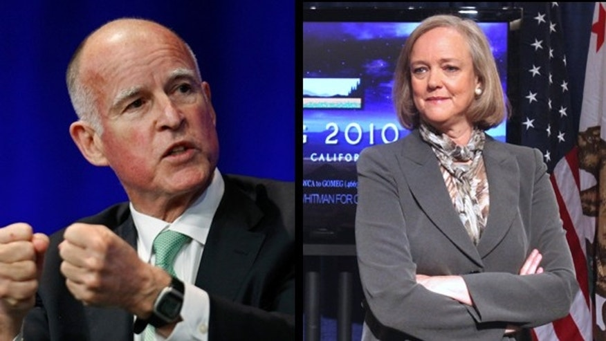 California Attorney General Jerry Brown and Republican gubernatorial candidate Meg Whitman. (AP)