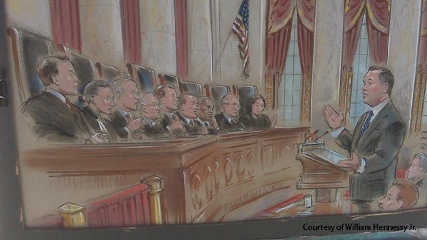 This sketch shows the Supreme Court listening to arguments in a case about text messages April 19. (Courtesy of William Hennessy Jr.)