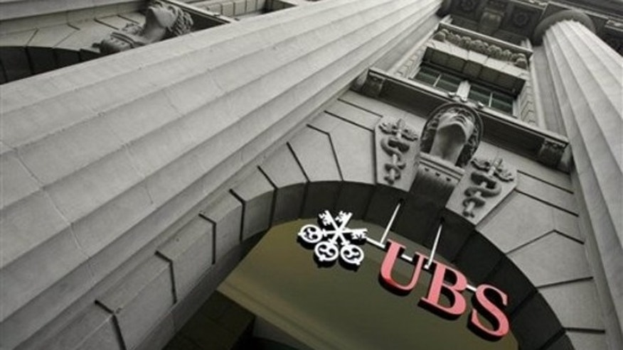 In this Jan. 30, 2008 file photo, the logo of Swiss Bank UBS on Zurich's Bahnhofstrasse, Switzerland. (AP)