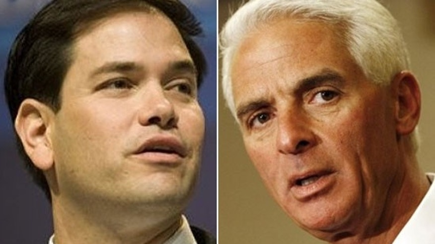 Former Florida House Speaker Marco Rubio (left) and Florida Gov. Charlie Crist are in a battle for the Republican nomination for the U.S. Senate race.