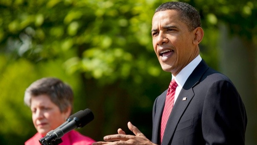 April 23: President Obama and Homeland Security Secretary Janet Napolitano speak in the Rose Garden of the White House.