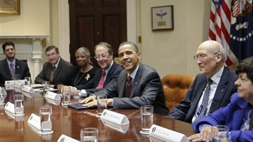President Obama meets with the National Commission on Fiscal Responsibility and Reform April 27 in the Roosevelt Room at the White House. (AP Photo)