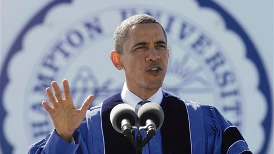President Obama speaks to the graduating class at Hampton University in Hampton, Va., May 9. (AP Photo)
