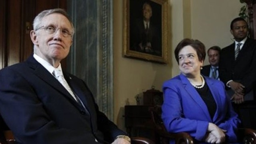 Wednesday: Supreme Court nominee Elana Kagan sits with Senate Majority Leader Harry Reid in the first of several courtesy calls to lawmakers ahead of her confirmation hearing (AP).