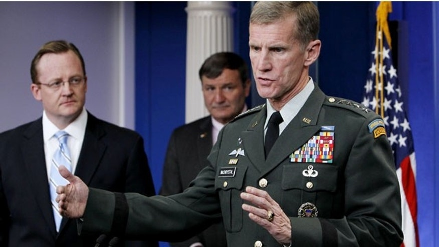 May 10: Commander of U.S. and NATO forces in Afghanistan Gen. Stanley McChrystal, briefs reporters ahead of Afghan President Hamid Karzai's visit to the White House.