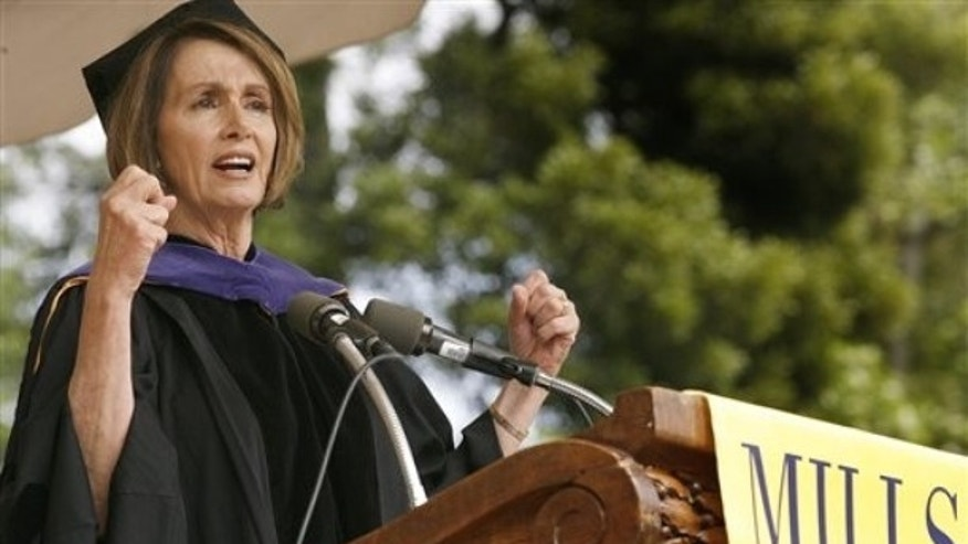 House Speaker Nancy Pelosi speaks during commencement exercises at Mills College, in Oakland, Calif., Saturday, May 15, 2010. ( AP Photo/Tony Avelar)