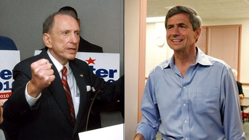 Sen. Arlen Specter, left, lost to Rep. Joe Sestak in the Pennsylvania Senate Democratic primary contest May 18.