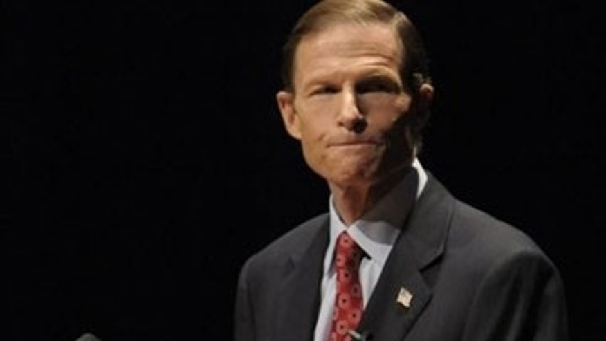 Attorney General Richard Blumenthal is shown at a Democratic debate at the Lincoln Theater on the University of Hartford campus in West Hartford, Conn., March 1. (AP Photo)