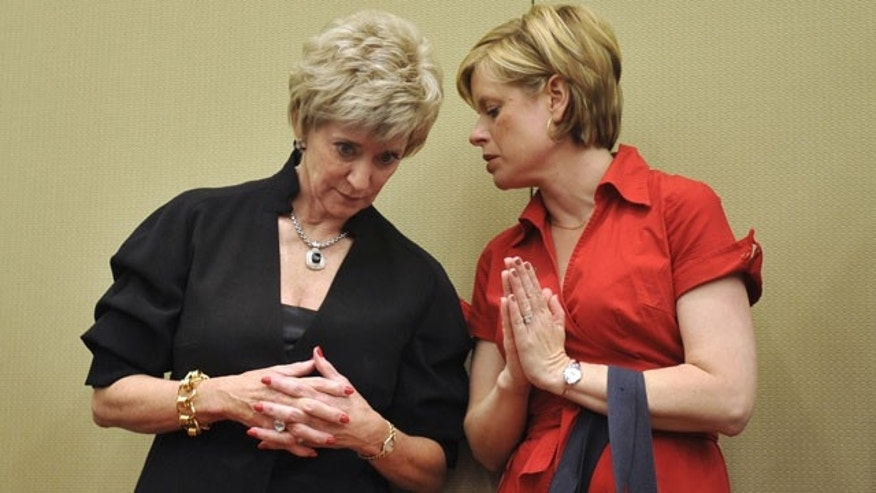 May 21: Republican candidate for U.S. Senate Linda McMahon, left, speaks with campaign aid Jodi Latina at the Connecticut Republican Convention in Hartford, Conn.