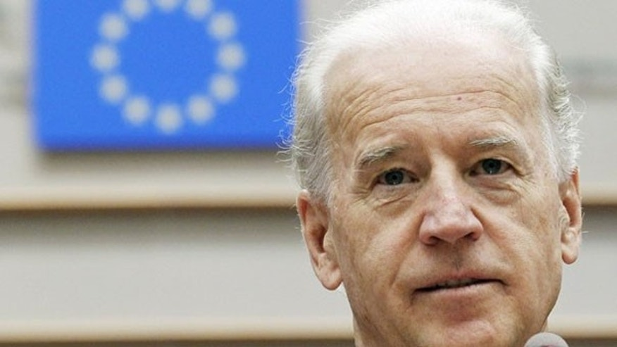 Vice President Biden addresses the European Parliament in Brussels May 6. (Reuters Photo)