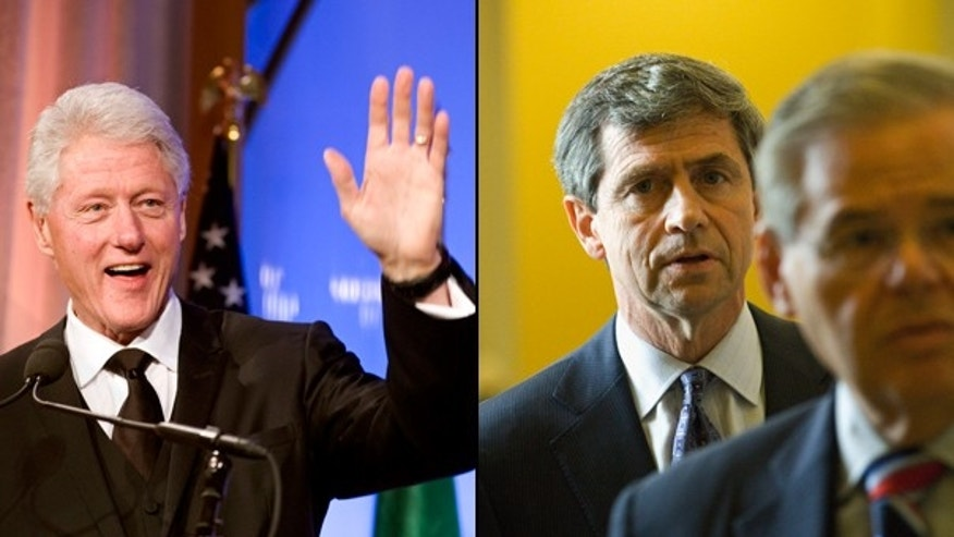 Former President Bill Clinton denies a White House account that he urged Rep. Joe Sestak to drop out of a Senate primary. (AP)