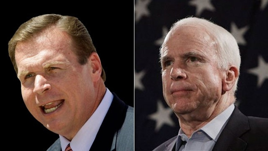 Former Rep. J.D. Hayworth, left, is challenging Sen. John McCain in the Republican primary.