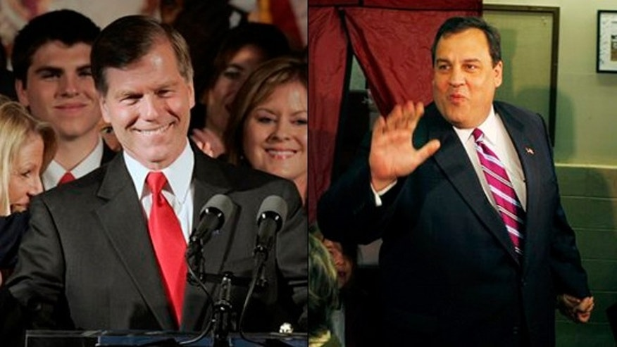 Virginia Gov. Bob McDonnell, left, and New Jersey Gov. Chris Christie give Republicans hope for a GOP takeover this fall of a majority of governor's seats. (AP Photos)
