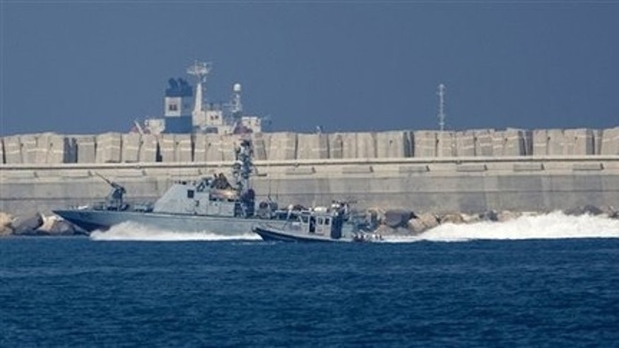 May 31: An Israeli armed naval boat sails into the port of Ashdod in the Mediterranean Sea, southern Israel.