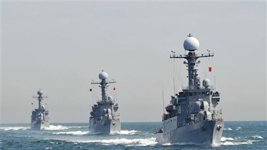 May 27: South Korean Navy Patrol Combat Corvettes stage an anti-submarine exercise off the western coast town of Taean.