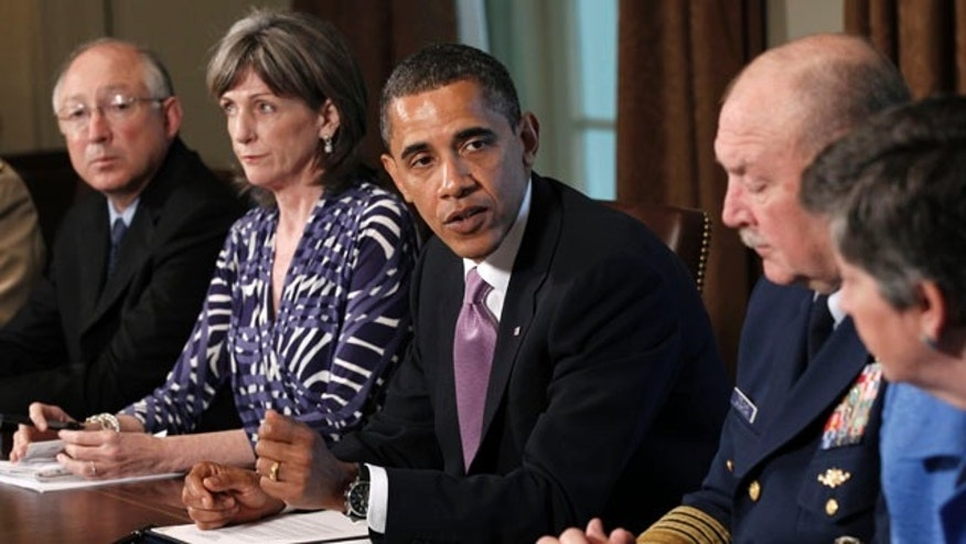 June 7: Obama meets with members of his Cabinet to discuss the response to BP Deepwater Horizon oil spill, in the Cabinet Room of the White House in Washington.