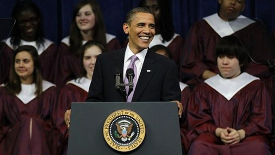 President Obama delivers the commencement address for Kalamazoo Central High School in Kalamazoo, Mich., on June 7. (AP Photo)