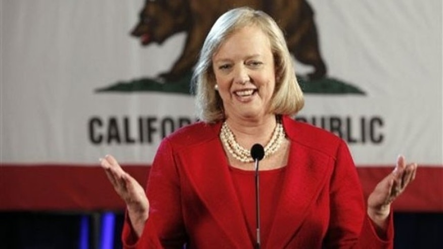 JUne 9: After winning the Republican nomination for governor of California, Meg Whitman talks to reporters at a post-primary election celebration in Anaheim, Calif. (AP).