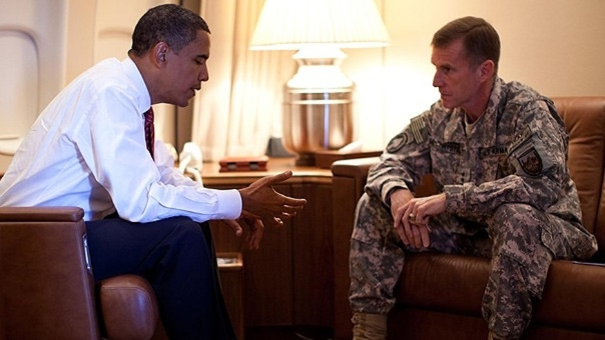 Oct. 2: President Obama meets with Army Gen. Stanley McChrystal aboard Air Force One in Copenhagen, Denmark.