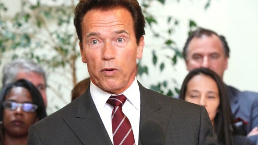 California Gov Arnold Schwarzenegger speaks at news conference in Los Angeles Wednesday, June 9,  2010. (AP Photo/Nick Ut)