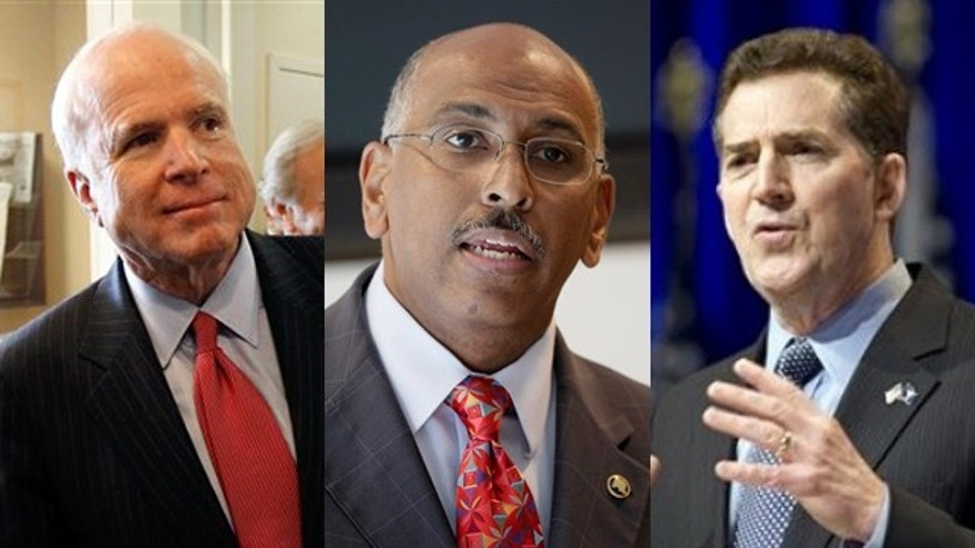 Shown here are Sen. John McCain, left, RNC Chairman Michael Steele, center, and Sen. Jim DeMint, right. (AP Photos)