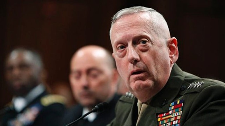 In this March 9 file photo, Gen. James N. Mattis testifies on Capitol Hill in Washington. (AP Photo)