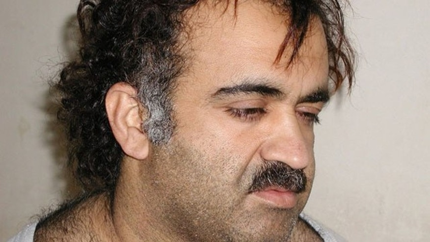 Khalid Sheikh Mohammed is shown in this file photo during his arrest on March 1, 2003. (Reuters Photo)