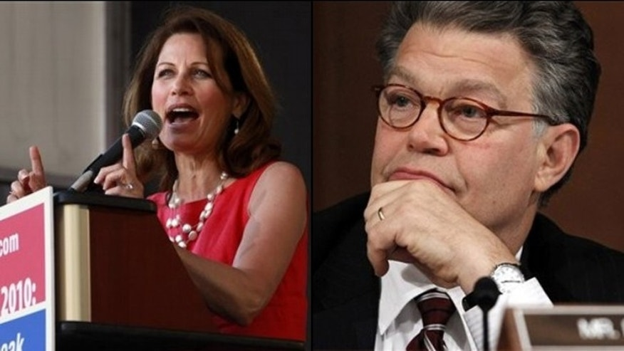 Rep. Michele Bachmann and Sen. Al Franken are two of the speakers being featured at dueling online conferences in Las Vegas. (AP)