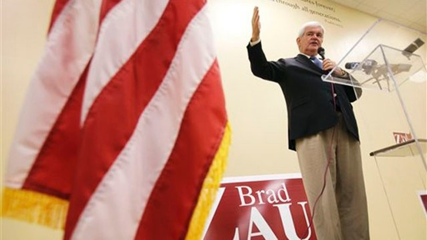 Newt Gingrich speaks during a fundraising breakfast for Iowa congressional candidate Brad Zaun July 12 in Des Moines, Iowa. (AP Photo)