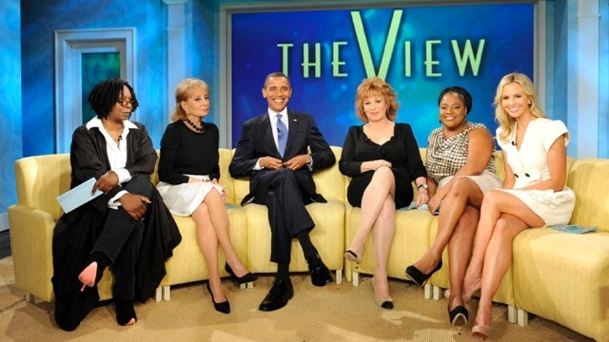 "July 28: In this publicity image released by ABC, President Obama joins the co-hosts, from left, Whoopi Goldberg, Barbara Walters, Joy Behar, Sherri Shepherd and Elisabeth Hasselbeck on the set of  the ABC daytime talk show ""The View."""