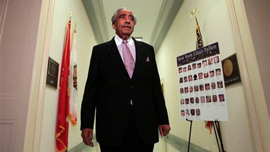 Rep. Charles Rangel enters his office on Capitol Hill July 29. (AP Photo)