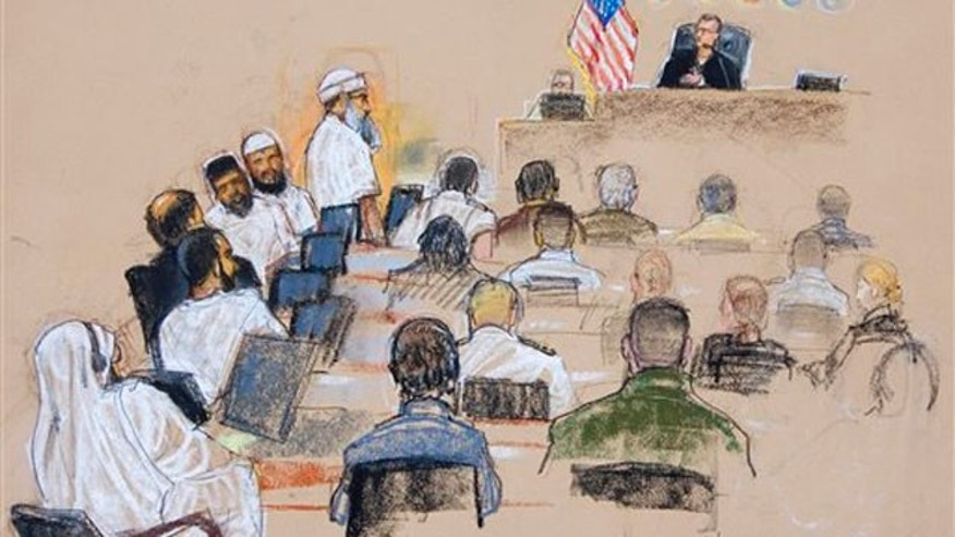 June 5, 2008: This photo shows a sketch of the Sept. 11 attacks co-conspirator suspects.