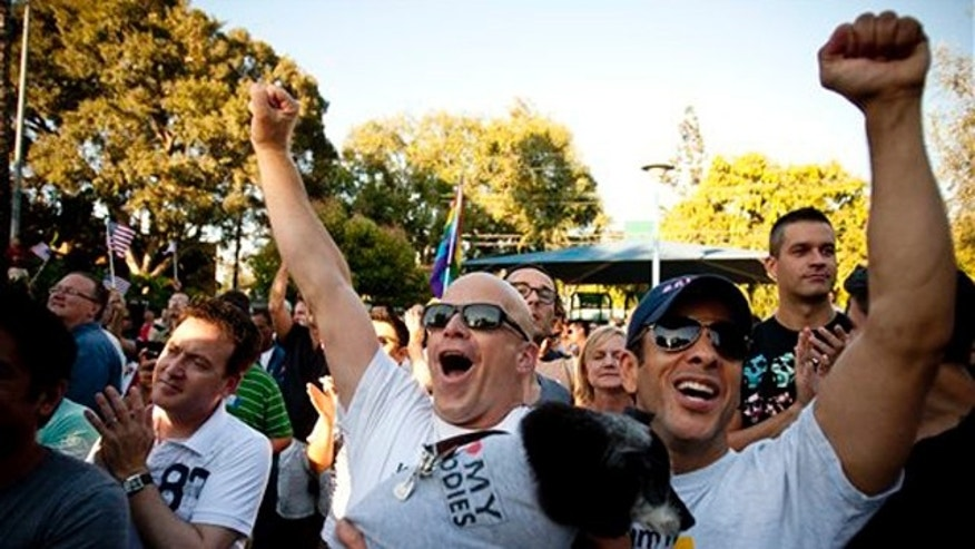 Proposition 8 opponents Mark Allen, left, and his partner Allen Hidalgo cheer during a rally Aug. 4 in West Hollywood, Calif. (AP Photo)