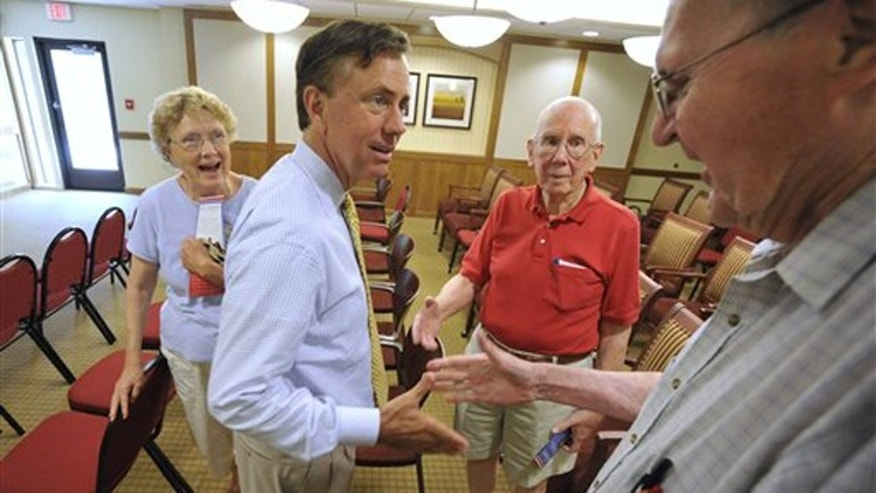 Democratic gubernatorial candidate Ned Lamont greets seniors at a retirement community in Cromwell, Conn., July 27. (AP Photo)
