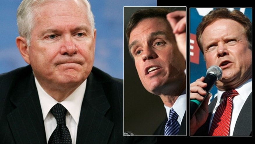 Defense Secretary Robert Gates, in announcing Pentagon budget cuts and the closing of a major military command in Norfolk, Va., was hit by criticism from several Virginia lawmakers, including Sen. Mark Warner, left inset, and Sen. Jim Webb, right inset.