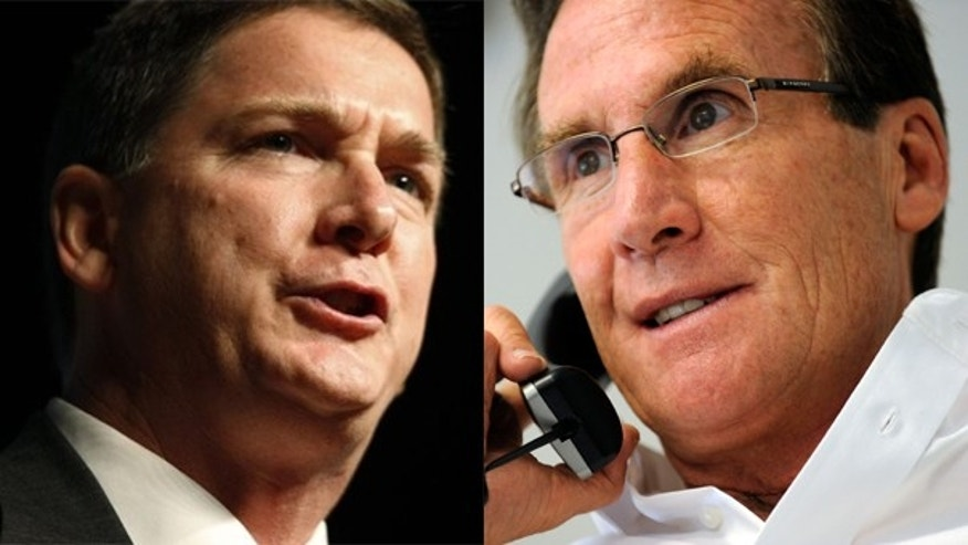 Dan Maes (left) and Scott McInnis, both Republican primary candidates for governor in Colorado, are locked neck and neck for the GOP nomination.