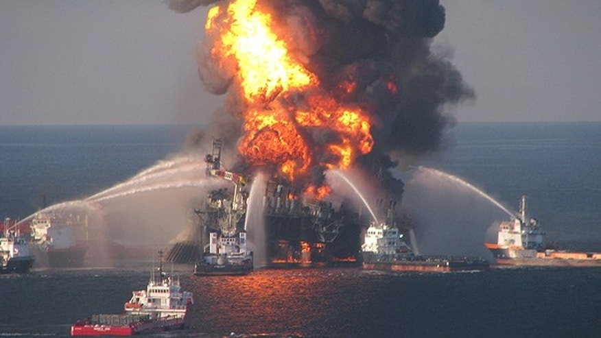 Apr. 21: Fire boat crews battle the blazing remnants of the offshore oil rig Deepwater Horizon.