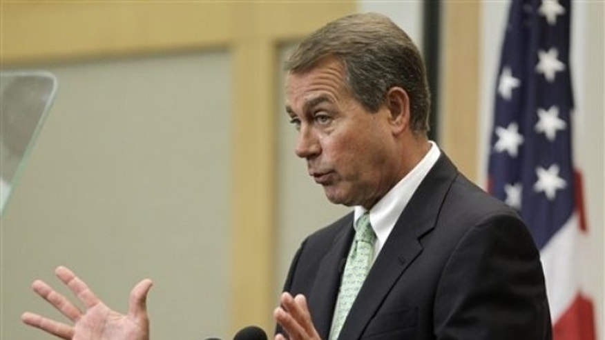 Tuesday: House Minority Leader John Boehner speaks on jobs and the economy at the City Club of Cleveland. (AP Photo)