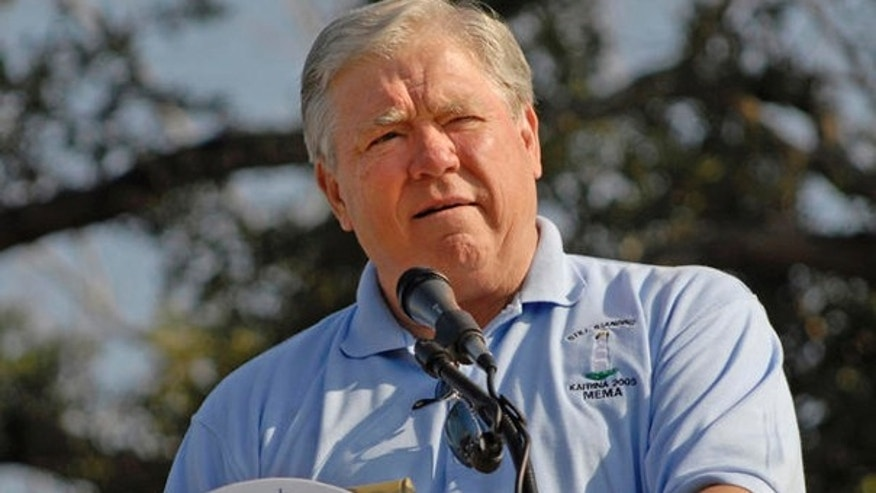 Aug. 29, 2006: Miss. Gov. Haley Barbour speaks at a memorial service commemorating the first anniversary of Hurricane Katrina. at the Town Green in Biloxi, Miss.