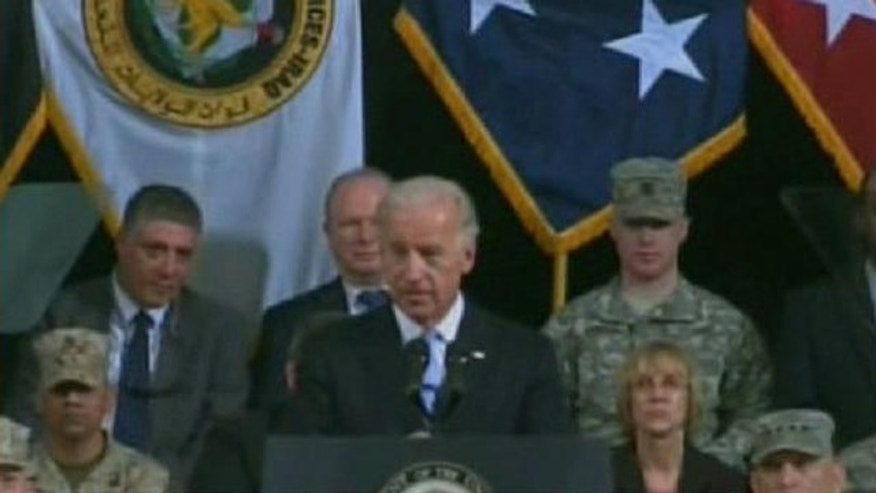 Vice President Biden speaks at a ceremony Sept. 1 marking the change of military commanders in Iraq. (FNC)