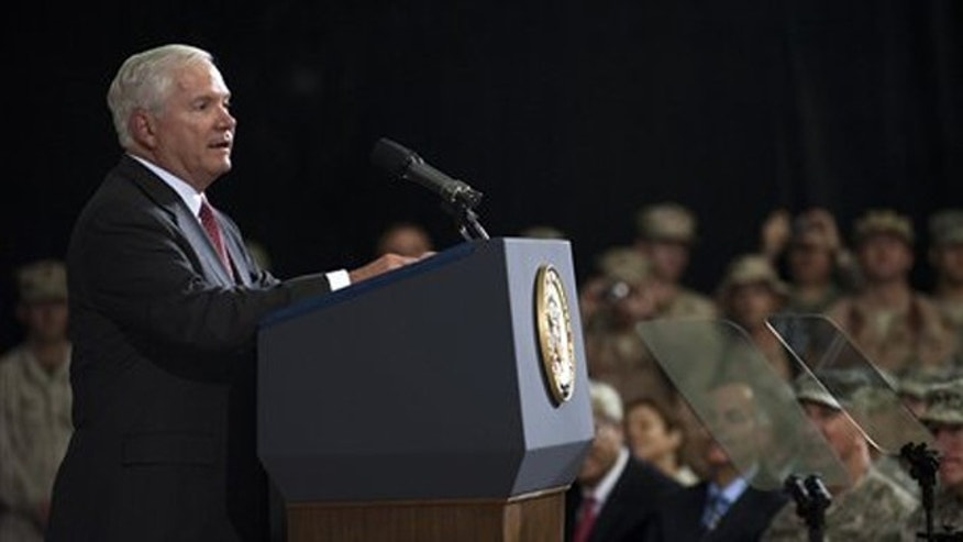 Secretary of Defense Robert Gates speaks during the change of command ceremony in Baghdad Sept. 1. (AP Photo)