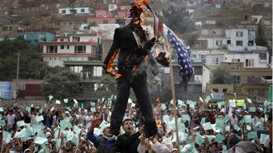 Sept. 6: Afghans burn an effigy of Dove World Outreach Center's pastor Terry Jones during a demonstration against the U.S. in Kabul.