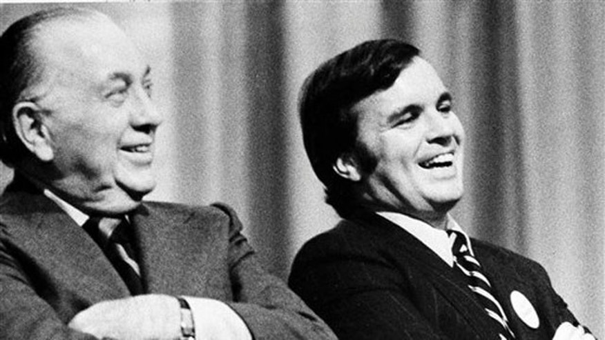 Oct. 30, 1974: Richard J. Daley, left, and his son, Richard M. Daley, attending a rally in Chicago. Richard M. Daley, 68, mayor of Chicago for 21 years, announced Tuesday Sept. 7, 2010 he will not run for a seventh term (AP).