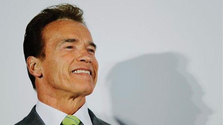 Sept. 8, 2010: Calif. Gov. Arnold Schwarzenegger smiles during a talk at Marvell Seminconductor headquarters in Santa Clara, Calif., Wednesday, Sept. 8, 2010. The governor begins a week-long trade mission to China, Japan and South Korea on Thursday (AP).